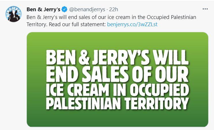 Ben & Jerry's stopt met verkoop in Oost-Jeruzalem en Westelijke Jordaanoever